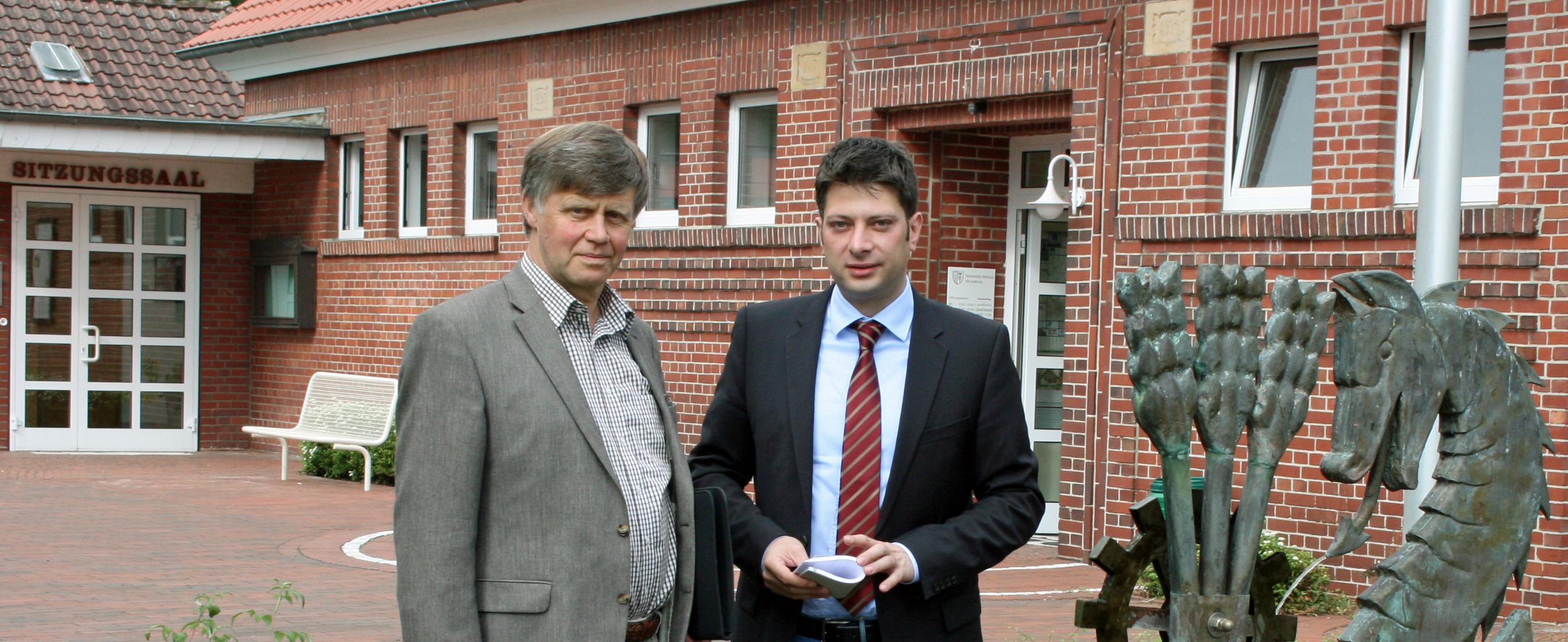 Christian Calderone 2013 im Rahmen des Antrittsbesuches beim damaligen Bürgermeister der wirtschaftsstarken Gemeinde Nortrup, Leonhard Renze. Der ländliche Raum kann es!