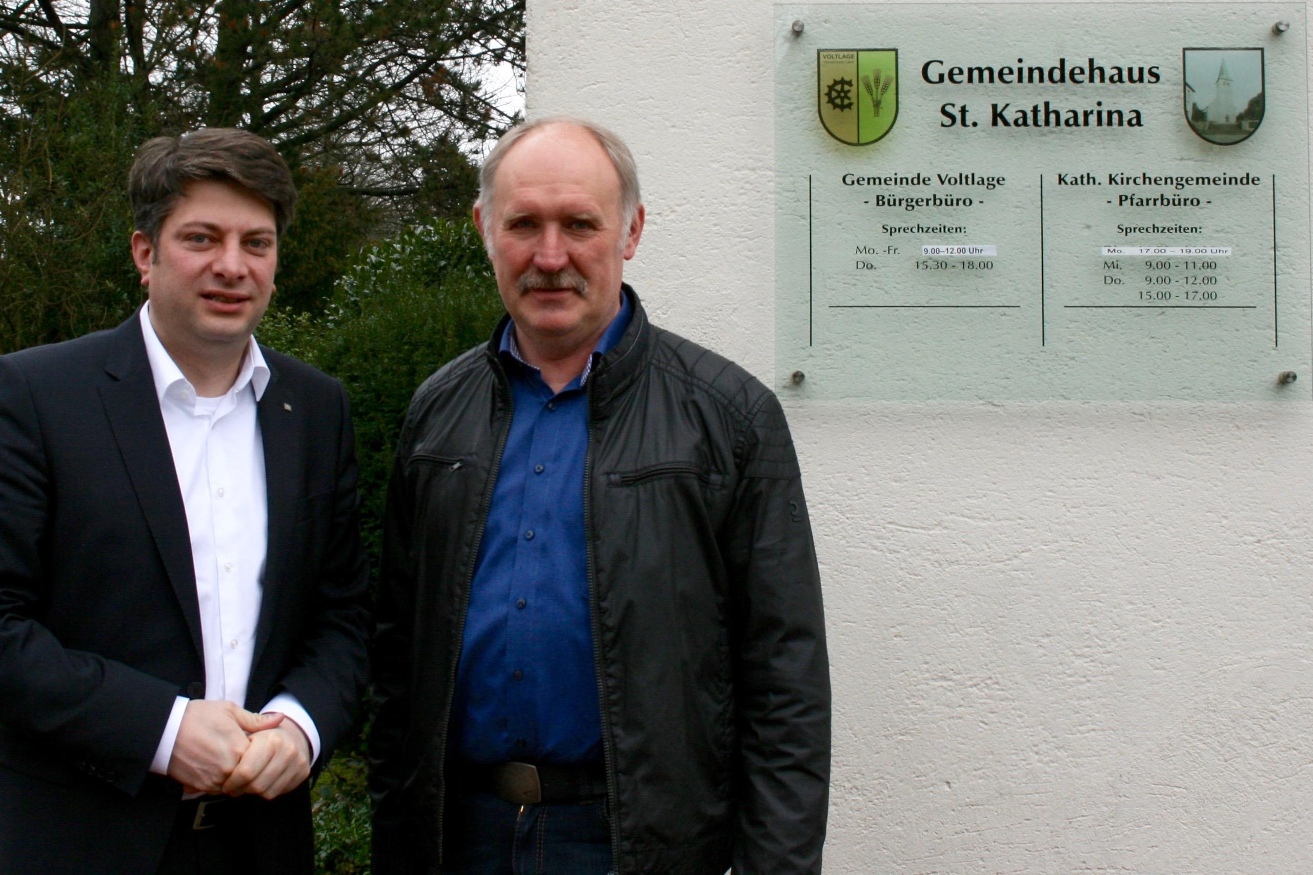 Antrittsbesuch bei Bürgermeister der Gemeinde Voltlage: MdL Calderone besuchte Bürgermeister Trame im Voltlager Gemeindebüro.