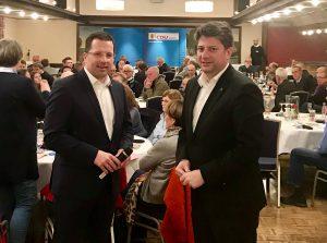 Arbeits-Kreisparteitag der CDU in Bohmte: Kreisvorsitzender Christian Calderone MdL (rechts) konnte dabei den Generalsekretär der CDU in Niedersachsen, Kai Seefried MdL, begrüßen.